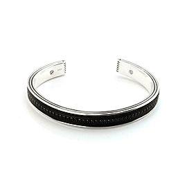 David Yurman Sterling Silver Black Onyx Men's Cuff Bangle Bracelet