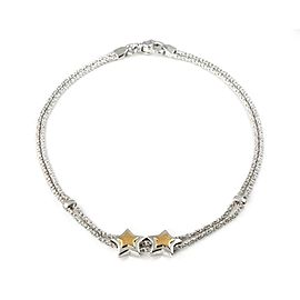 Tiffany & Co. Sterling Silver 18k Yellow Gold Double Chain & Stars Slide Necklace
