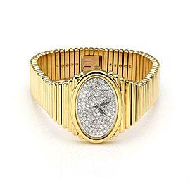 Piaget One Carat Rose Cut Diamond 18k Yellow Gold Hand Wind Wrist Watch