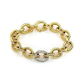 David Yurman Diamond 18k Yellow & White Gold Oval Cable Link Bracelet