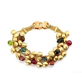Marco Bicego Multi-Color Gems 18k Yellow Gold 5 Strand Chain Bracelet