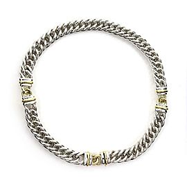 Christofle Sterling Silver 18k YGold 3 Station Curb Link Chain Necklace
