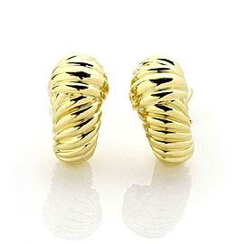 David Yurman 18k Yellow Gold Shrimp Oval Hoop Earrings