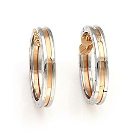 Bvlgari Bulgari B Zero-1 Steel & 18k Rose Gold Engraved Hoop Earrings