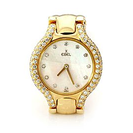Ebel Beluga Diamond MOP 18k Yellow Gold Ladies Wrist Watch Quartz 866969