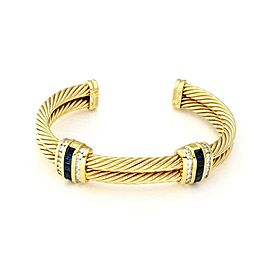 David Yurman 3.50ct Diamond & Sapphire 18k Gold Double Cable Band Bracelet