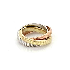 Vintage Tiffany & Co. 18k Tricolor Gold Grooved 3 Rolling Band Ring Size 4.5