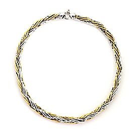 "Italy 14k Two Tone Gold 8.5mm Thick Woven Link Necklace 18"" Long"