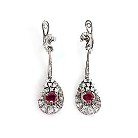 Estate 6.80ct Diamond Ruby 18k White Gold Earrings & Ring Set