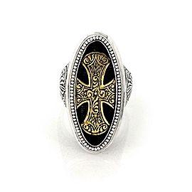 Konstantino Maltese 950 Silver & 18k Gold Large Oval Shape Cross Ring