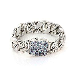 John Hardy Pave Blue Topaz Amethyst 925 Silver Large Curb Link Bracelet