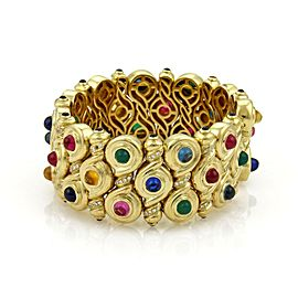 Estate 1ct Diamond & Multi-Gemstone 18k Yellow Gold Fancy Wide Bracelet