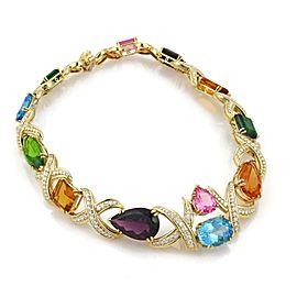 Estate 258ct Diamond Multicolor Gems 18k Yellow Gold X Link Collar Necklace