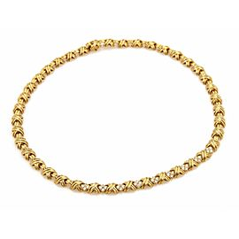 "Tiffany & Co. 1ct Diamonds X Signature 18k Yellow Gold Necklace 17"" Long"