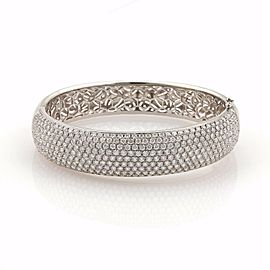 Elegant 18k White Gold 10ct Diamonds 15mm Wide Dome Bangle Bracelet