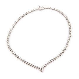 Estate 14K White Gold 8ct Diamond V Shape Heart Link Eternity Tennis Necklace