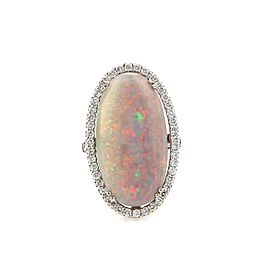 Estate 12.20ctw Fire Opal & Diamond 18k White Gold Large Oval Ring Size 7