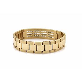 Men's 7.00ct Diamond 14k Yellow Gold Long Bar Jubilee Link Bracelet
