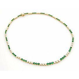 Tiffany & Co. 9.50ct Diamonds Emerald 18k Yellow Gold Graduated Tennis Necklace