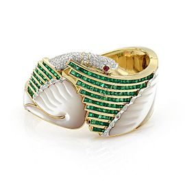 Estate 12.80ct Emerald Diamond Ruby & Mother of Pearl 18k Gold Swan Bracelet