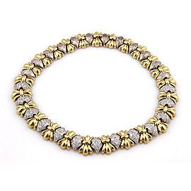 Estate 14K 2 Tone Heavy Link 5ct Pave Diamond Fashion Necklace