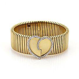 Stelios Diamonds 18k Yellow Gold Heart Wide Flex Band Bracelet