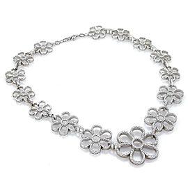 10ctw Diamond 18k White Gold Large Graduated Floral Drape Necklace