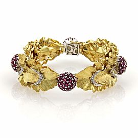Spritzer & Fuhrmann 8.06ct Ruby & Diamonds 18k Gold Floral Leaf Bracelet
