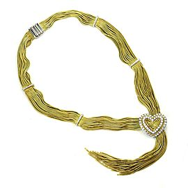 Designer Harpo's 3Carat Diamond 18k Gold Multi Snake Chain Heart Tassel Necklace