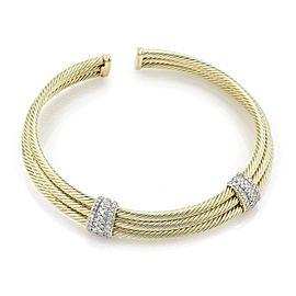 David Yurman 4 Carats Diamond 14k Gold Triple Rows Cable Collar Necklace
