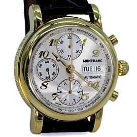 Montblanc Meisterstuck 18k Gold Day Date Automatic Men's Leather Watch