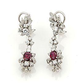 Estate 4.50ct Diamonds & Rubies Platinum 14k White Gold Drop Dangle Earrings