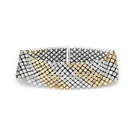 Elegant 8.15ct Diamond 14k Two Tone Gold 24mm Wide Flex Bracelet