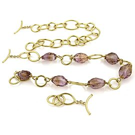 Amethyst Faceted Oval Bead 18k Yellow Gold Detachable Links Necklace