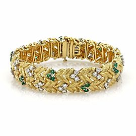 Estate 7.60ct Emerald & Diamond 18k Yellow Gold Fancy Floral Leaf Bracelet