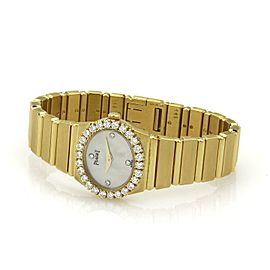Piaget POLO 1ct Diamond 18k Yellow Gold Mother of Pearl Ladies Quartz Watch