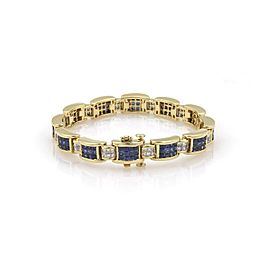 18k Yellow Gold Princess Cut Diamond & Sapphire Invisibly Set Bracelet