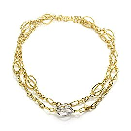 David Yurman Diamond 18k Gold 9 Station Fancy Wire Design Chain Necklace