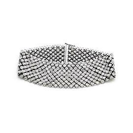 8.10ct Diamond 14k White Gold 24mm Wide Flex Bracelet