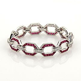 Estate 12.05ct Rubies & Diamond Octagon Link Platinum Bracelet