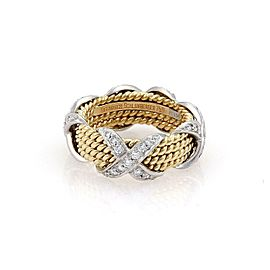 Tiffany& Co Schlumberger 18k & Platinum 4 Row X Ring Size 6.25