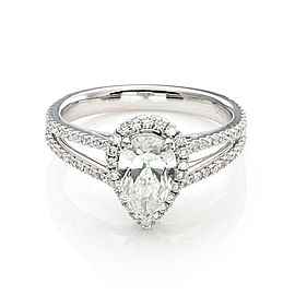 Pear Cut 1.00ct Solitaire D SI2 Diamond w/Accent 18k Gold Ring