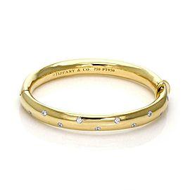 Tiffany & Co Etoile Diamond 18k Yellow Gold Platinum 9mm Wide Bangle Wide Model