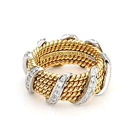 Tiffany & Co. Schlumberger Diamond 18k Gold Platinum 5 Rows Band Ring