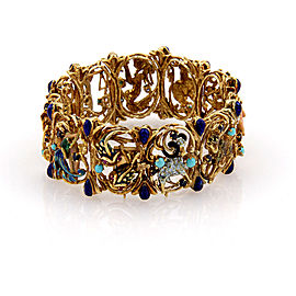 Cheany 18K Yellow Gold Sapphire Turquoise Ruby and Enamel Zodiac Link Bracelet
