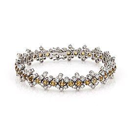 Estate 13.60ctw Diamond Citrine 18k WGold 12.5mm Wide Floral Link Bracelet