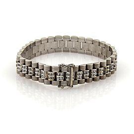 Magnificent 8ct Diamonds 14k White Gold Textured Men's Jubilee Wide Bracelet