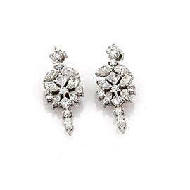 Estate 6.50ct Diamond 14k White Gold Floral Drop Dangle Earrings