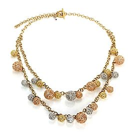 Roberto Coin 18k Tricolor Gold Double Strand Filigree Diamond Ball Necklace