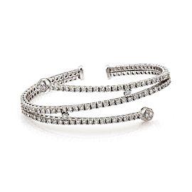 Modern 3.5ctw Diamond 18k WGold Fancy Triple Rows Flex Cuff Band Bracelet